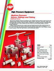 Medium Pressure Valves, Fittings and Tubing   High Pressure